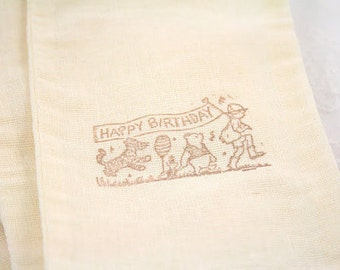 Winnie the Pooh Muslin Bags Happy Birthday Stamped Pooh and Friends Set of 10