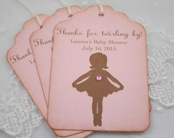Personalized Ballerina Tags Baby Shower Thank You Favor Tags Vintage Pink