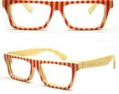 world's first bamboo  red stripes TAKEMOTO  LOVE-COLOR handmade  glasses