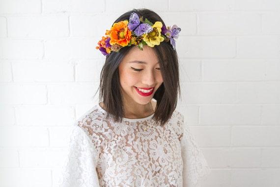purple orange woodland butterfly hair wreath // statement flower crown headpiece, pine cone headband, hair crown - 'Adairia'