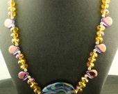 Statement Necklace OOAK Blue Purple Swirl Lampwork  Necklace