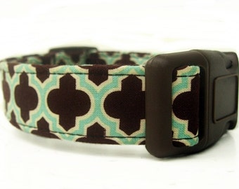 Dog Collar in Chocolate Brown and Aqua
