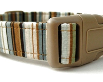 Striped Dog Collar - Brown Tan Blue Ivory