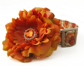 Thanksgiving Turkey Dog Collar with Flower Accessory