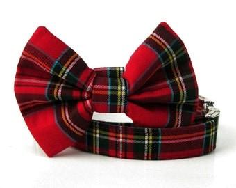 Red Plaid Bow Tie Dog Collar - Scottie Plaid - Nickel Hardware
