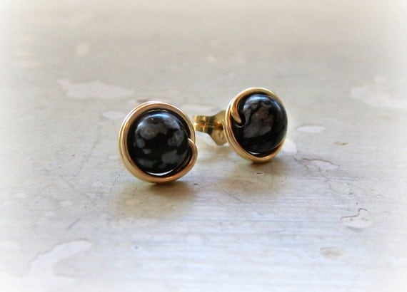 Snowflake Obsidian Studs, Black Post Earrings, Gold Filled Studs, Gemstone Posts, Round Stud Earrings, Natural Stone Earrings, Spotted Studs