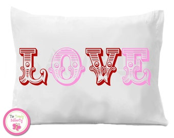 LOVE Personalized Pillow case Valentines Personalized Pillow Case