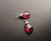 PETITE Red Maroon GARNET gemstone Interchangeable Earring drops, dangles, charms, Pair of genuine faceted briolettes - Gold, Silver, Rose