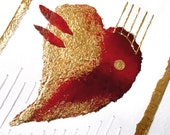 Red Heart/Art Collage/gold/Valentine/love/Lovers/Art card/Feng Shui Art/Amore/Collectible