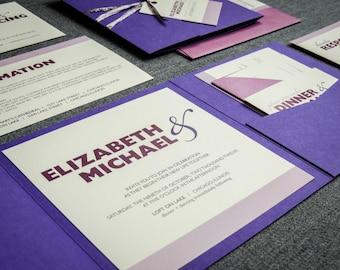 "Purple Wedding Invitations, Pocketfold Invite, Ombre Wedding, Striped Invites, Mitzvah - ""Bold Striped"" Pocketfold, No Layers, v2 - SAMPLE"