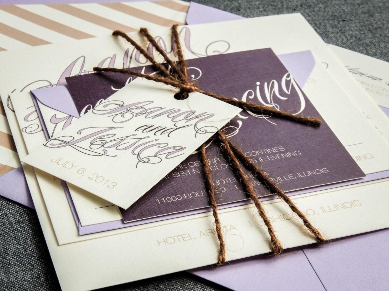 Purple Rustic Wedding Invitations: Purple Wedding Invitation Rustic Wedding By JulieHananDesign