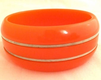BAKELITE Bangle ART DECO Silver Accents Bracelet plastic tested Unique Rare Authentic Antique Vintage Jewelry Runway Bold Orange Neon Thick