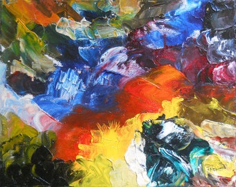 """Abstract Oil Painting """"Confusion"""" Hand painted Palette Knife Textured on Canvas"""