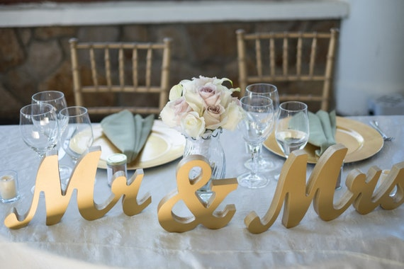 Mr And Mrs Large Wooden Letters: Gold Mr And Mrs Wedding Signs Table Signs For By ZCreateDesign
