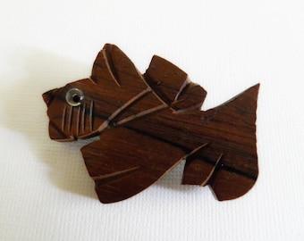 Vintage Scottie Dog Wood Button