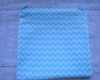 Light turquoise and white chevron make up bag, cosmetic bag, gift bag, small pouch or small purse