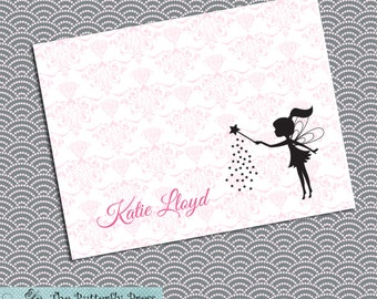 Fairy Note Cards Pink Fairy Folded Notecards Fairy Stationary