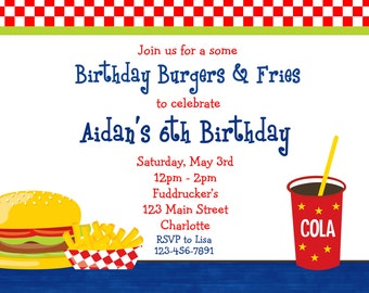 Burgers and Fries Birthday Party Invitation Burgers and French Fries party Birthday Invitation