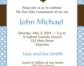 First Holy Communion Invitation Boys First Communion Invitation Holy Communion Baptism Confirmation