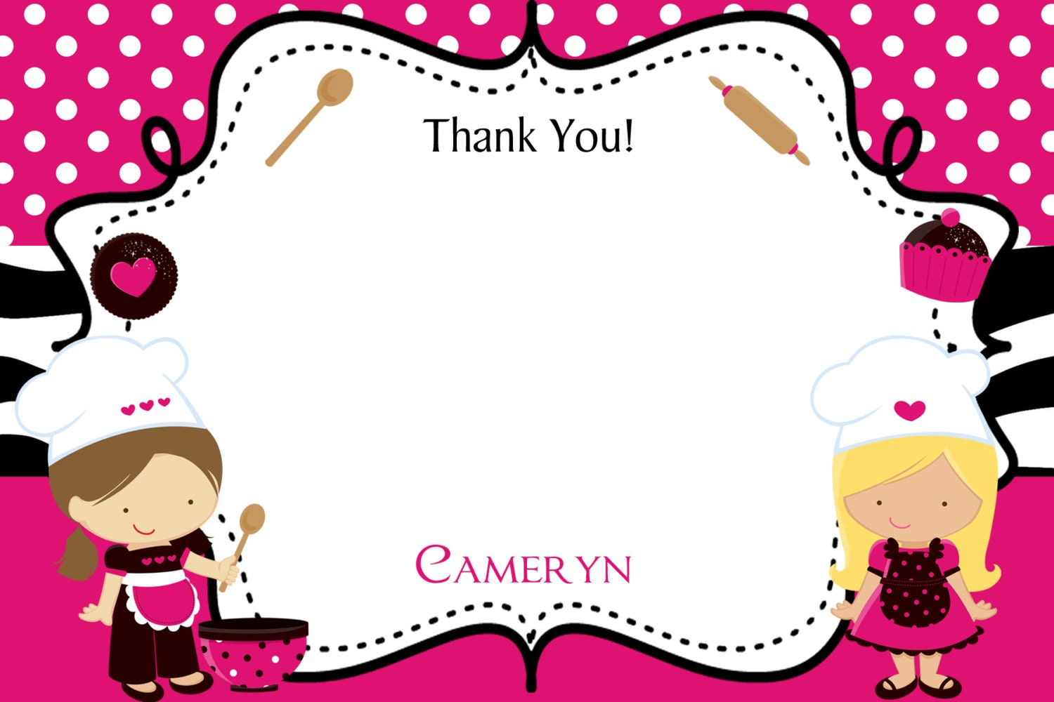 Thank You For Baking: Baking Party Thank You Note Cooking Birthday Party Thank You