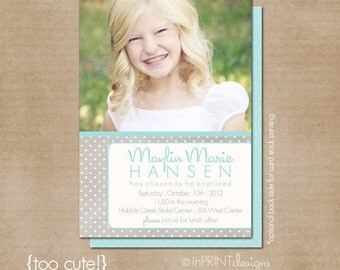 lds baptism invitation, girl baptism invitation, printable baptism announcement - digital baptism invitation - too cute