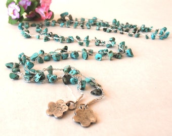 Long Necklace Turquoise Chips Gem, Gift For Sister, Gift For Mom,  Crochet Necklace, Knitting Jewelry,fashion jewelry