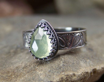 Lotus Pond Morning - 6x9mm Rose Cut Misty Green Prehnite Pear with Sterling SilverLeaf and Flower Band