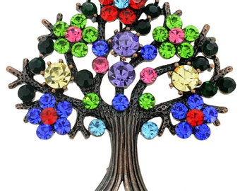 Multi-Color Tree-in-Full-Bloom Pin Brooch 1002192