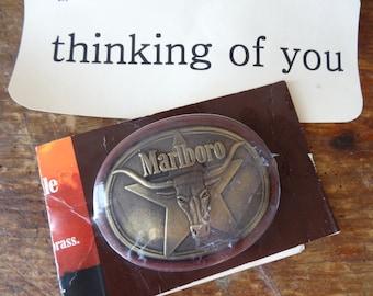 Vintage Marlboro Solid Brass Belt Buckle