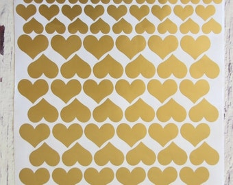 heart shaped wall decals in gold