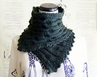 SALE-Hand Knit Scarf in Forest Green Luxe Alpaca blend, ready to ship