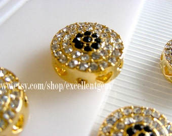 5pcs-Gold pleated evil eye,with crystal rhinestone bracelet connector,beads in round shape, Jewelry making