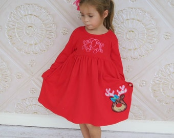 Christmas Dress, Reindeer Dress, Christmas Knit Dress, Appliqued Dress, Toddler Girls Dress, Embroidered Dress, Monogrammed Dress, Baby Girl