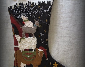 Merry Christmas to All Christmas Stocking E-PATTERN by cheswickcompany