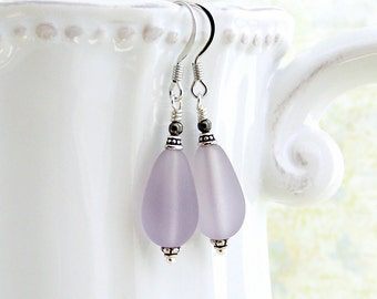 Purple drop Earrings with a sanded beach glass finish, wire wrapped in silver - Mauve Mist earrings