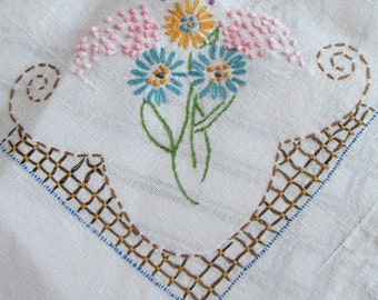 Vintage 1940's Cottage Chic Hand Embroidered Linen Tablecloth