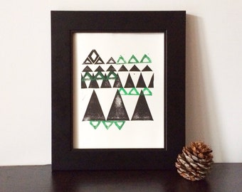 The Mountains Abstract Linocut Print 8x10 in emerald green and black on letterpress paper