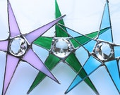 Colored Diamond Star- 8 inch stained glass star with diamond cut glass dimensional center