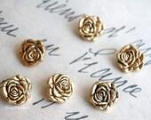 6 small buttons mini vintage antic button gold rose flower shape button romantic buttons set