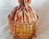 Vintage Wicker Sewing Basket Drawstring Silk Top
