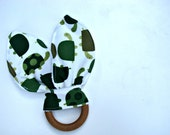 Natural Bunny Teething Ring - Turtle Baby Toy - Bunny Ear Toy - Organic Wood Teether - Baby Shower Gift - Baby Christmas Gift