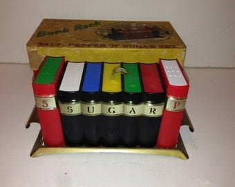 Vintage Book Rack Salt and Pepper and Sugar Set