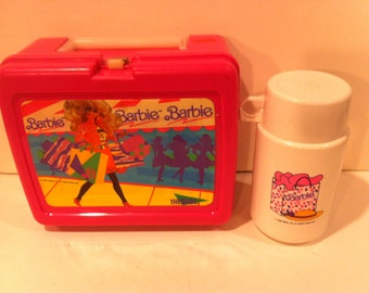 Vintage 1990 Barbie Lunchbox and Thermos