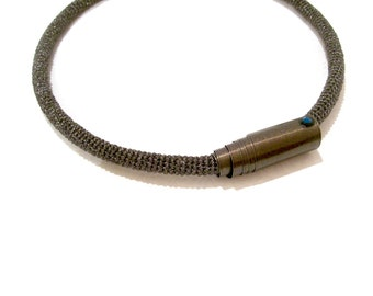 Smoky Brown Minimalist Choker, Skinny Open Cuff Necklace, metallic crochet tube hoop necklace