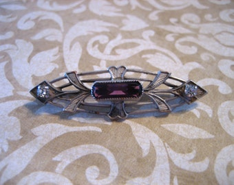 Antique Victorian Collar Pin or Brooch w Amethyst and Clear Glass Rhinestones