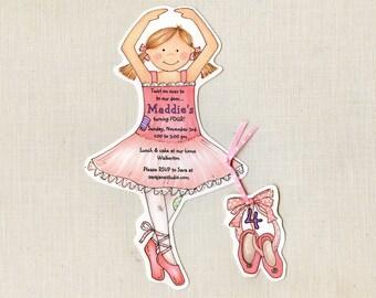 10 Ballerina / Dance Birthday Party Invitations -  Handcut & Personalized