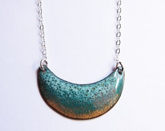 Crescent moon turquoise enamel necklace Enameled copper bib pendant Teal green sterling silver necklace
