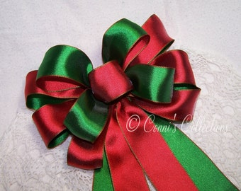 Classic Red & Green Satin Bow Wired Ribbon Handmade Holiday Christmas Decoration Wedding Pew Bow Party Bright Solid