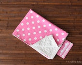 Waterproof diaper changing mat- pink with white polka dots