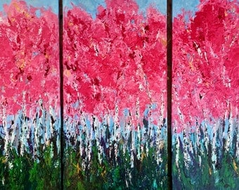 """Aspen Birch Tryptch Original painting  3-12 W x 24 H  x .75 Wrapped Canvas Free Ship in US  total 38 w x 24h (with 1"""" reveal) Free Shipping"""